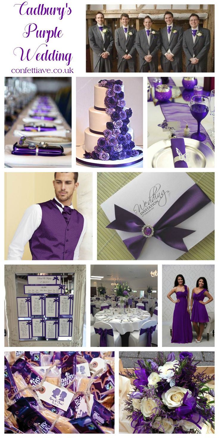 Cadburys Purple Wedding Colour Scheme | Mood Board http://confettiave.co.uk/cadburys-purple-wedding