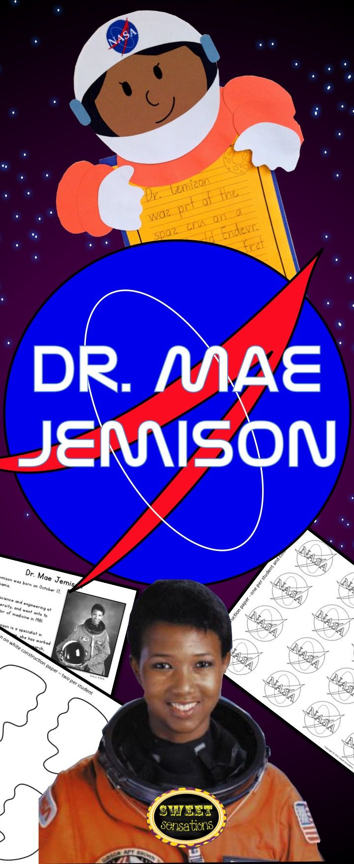 Great resource for black history, astronauts or space. In addition to being a brilliant scientist, engineer, computer software analyst and doctor, Mae Jemison was also the first African American female astronaut.