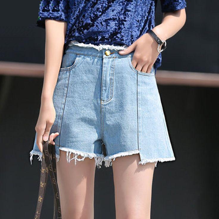 14.50$  Watch now - 2017 Summer Women Casual Hot Denim Jeans Shorts Blue  New Fashion Vintage Slim Shirt Skinny High Waist Shorts Plus Size  #magazine