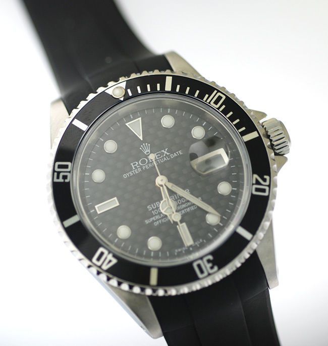 Rolex 16610 Submariner Watch Mens Black Carbon Dial Box & Papers Rubber B Strap #Rolex #Dress