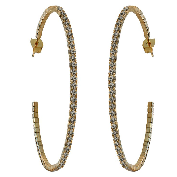 50mm Crystal Hoop Earrings - Gold