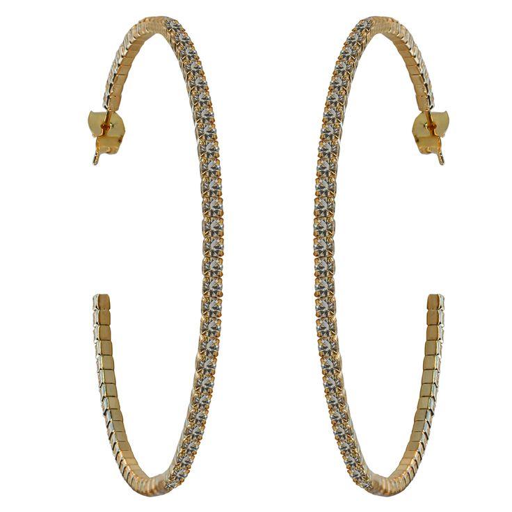 50mm Crystal Hoop Earrings - Gold