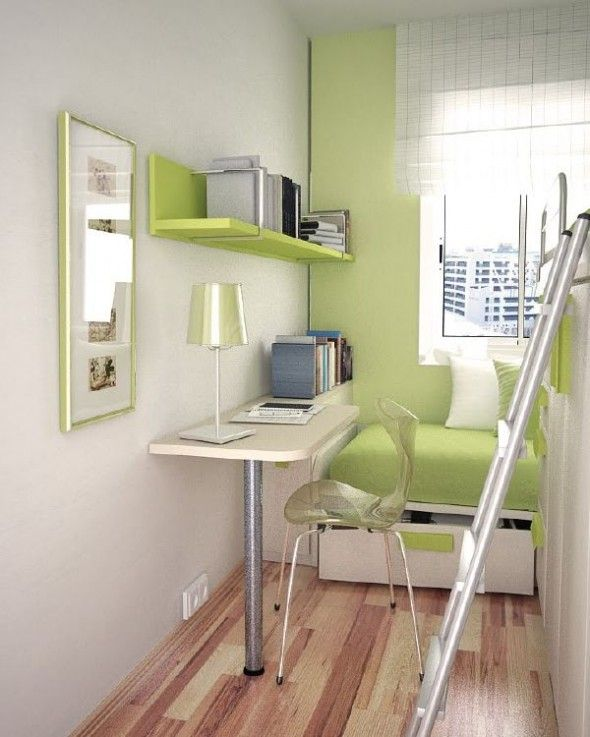 Bed Ideas: Green Themed Intresting Small Teen Room Layout Bunk Bed With  Staircase With Green Sofa And Hanging Bookselves And Study Table With Bay  Window, ...