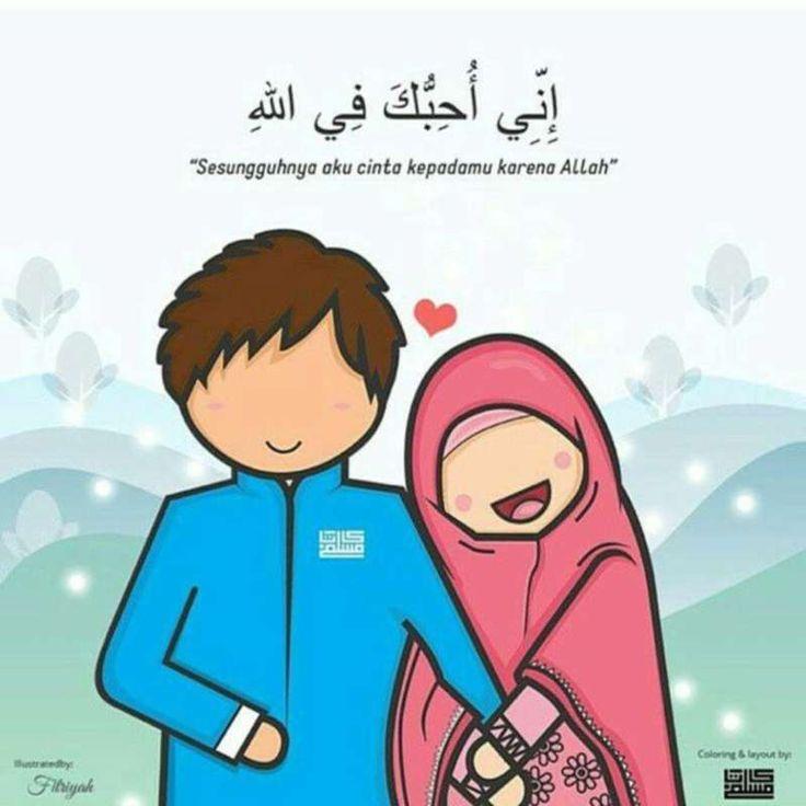 kartun gambar pasangan muslim dan muslimah romantis in ...