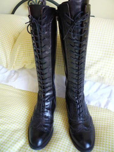 Office Knee Length Black Lace Up Boots