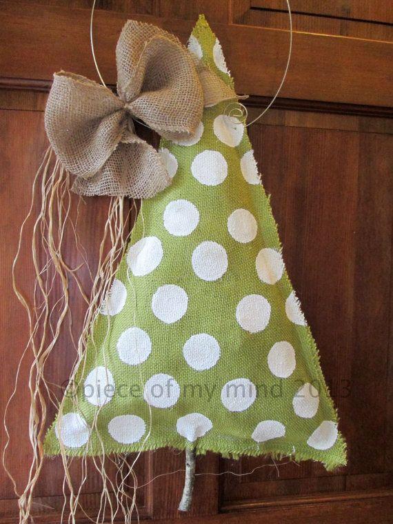Burlap Christmas Tree Burlap Door Hanger Polka Dot by nursejeanneg $28.00 & 178 best Burlap door hanging images on Pinterest | Bricolage Crowns ...