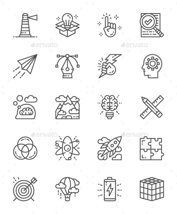 Set Of Creative And Inspiration Line Icons  Pack Of 64x64 Pixel
