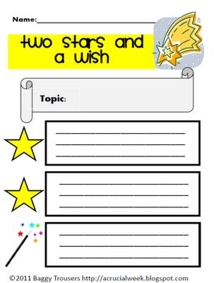 Two Stars is very simple to use. The children write down two things (stars) they learned about the topic they're covering and one thing (wish) they would like to find out about it.