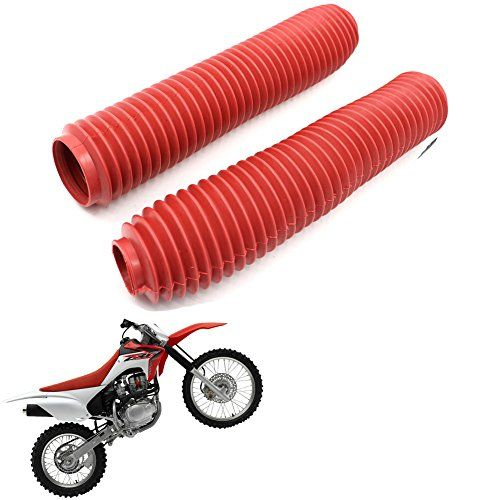 Dirt Bike Off-Road Front Fork Anti-Dust Cover Gaiter Boots For CRF XR YZ WR TTR KLR KX KLX DR RMX RMZ Enduro FC TE FE EXC XC-W XCF-W EXC-F Red  Universal Fit For All Off-Road model with 375MM fork Boots  Size: Top=40mm | Bottom=60mm | Natural length=375mm  Please kindly note: Due to the manufacturing process the exact size cannot be guaranteed. The actual size may be 2-4mm different.  Easy to install, top quality fork boots  Boots protect delicate fork tubes and extend fork seal life