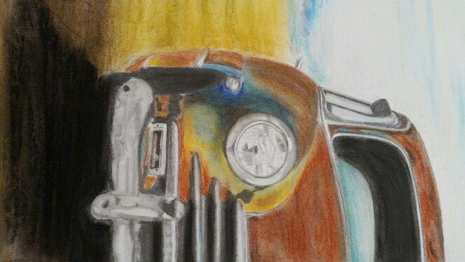 Billede tegnet  med blyant og pastel