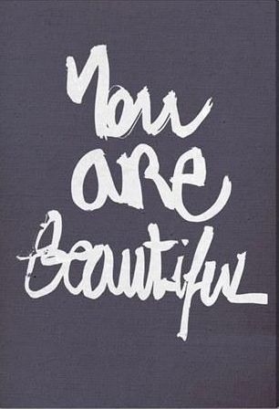 """Love this powerful wall art with the quote """"You are beautiful"""" as a constant reminder."""