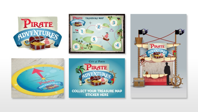 Pirate Adventure Graphics for Spirit Events and Entertainment. Designed by Amanda at JAZ Visual Communication  1300 852 102