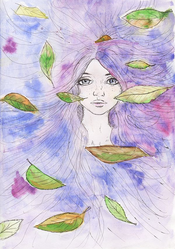 The Fall. Watercolor painting.