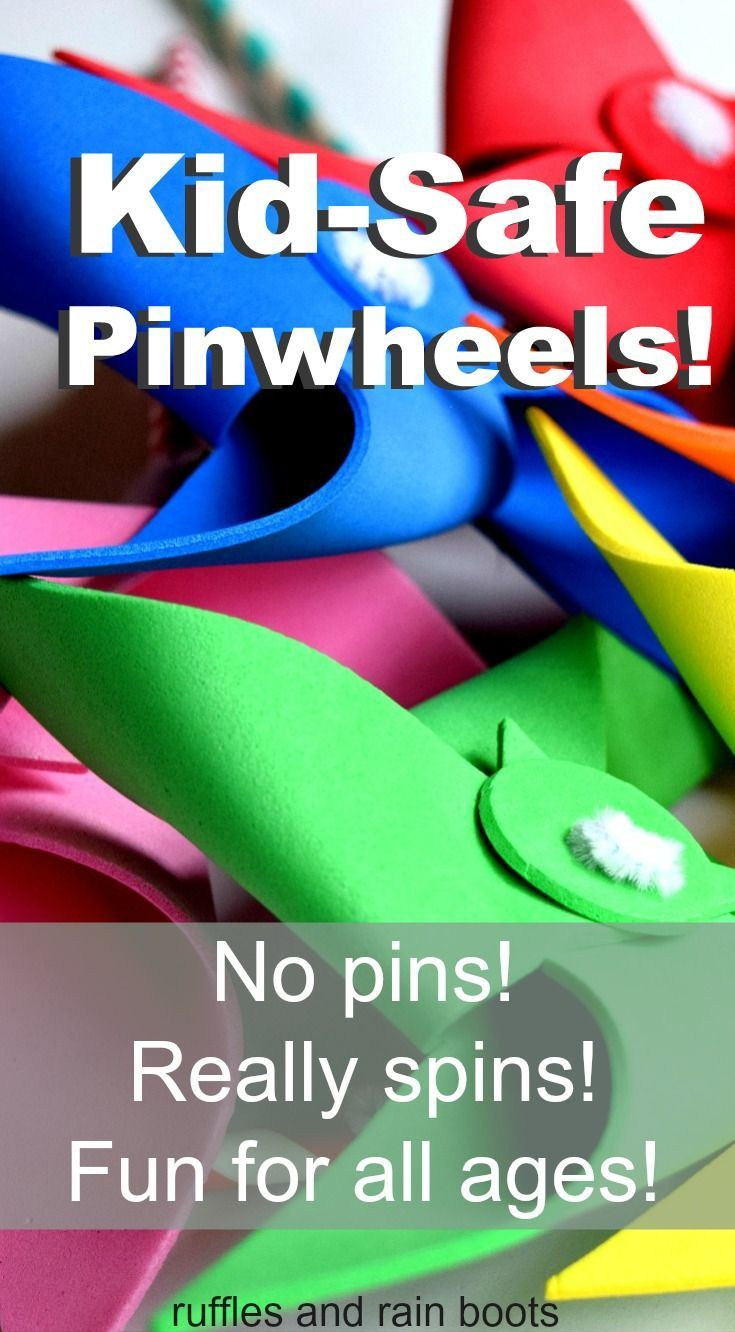 Set up some Easter basket fun with  these safe Pinwheels, made with no pins!   They really spin and are so much fun to make.