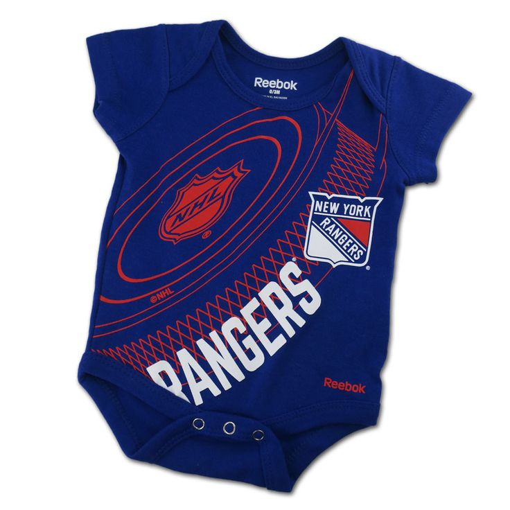 Is your little one destined to be a huge New York Rangers Hockey fan? If so, this fun little Onesie is a must-have! This cotton bodysuit has three easy to snap buttons for quick diaper changes. The screen-printed artwork is inspired to look like a hockey puck and includes official Rangers hockey logos.