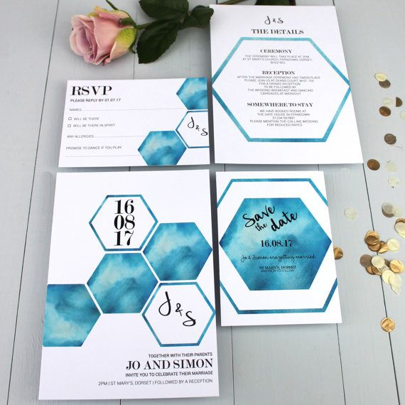 Watercolour Wedding Invitation Suite Geometric von BeijaFlorStudio  oh my god yes!!