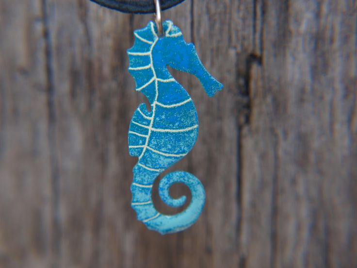 Ocean Inspired Blue Seahorse Pendant, Stainless Steel Enameled Jewelry, Handpainted Pendant, Beach Necklace, Seahorse Jewelry by CinkyLinky on Etsy