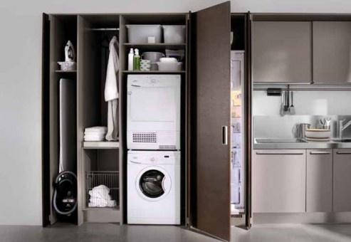 el lavarropas se apropia de la cocina cuando no tenemos suficiente espacio en casa para un lavadero.