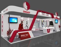 Exhibition Stall Layout : Exhibition stall 3d model 10x3 mtr 2 sides open diagast booths