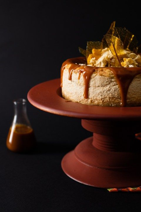 Halva & Rooibos Cheesecake with Caramel Topping. This baked cheesecake is a showstopper dessert. It has a light and soft texture infused with the delicate flavour of South African rooibos and vanilla halva. Finished with a thick, sweet caramel sauce, this is the holy grail of cheesecakes.