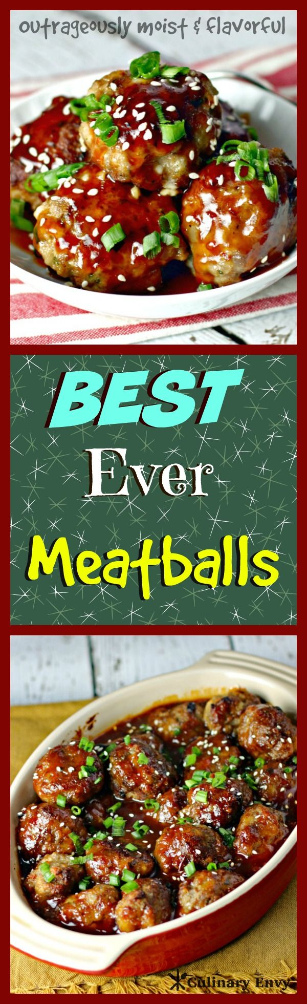 Best Ever Meatballs are juicy, tender, and moist with outrageously fresh, flavorful ingredients. It is the ultimate savory, sweet and tangy combination. The perfect addition to any game day or holiday party!