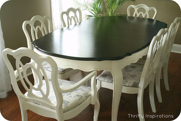 French Provincial Table Set Makeover - Minwax Polyshades on top ASCP Old White on bottom of the table and chairs.