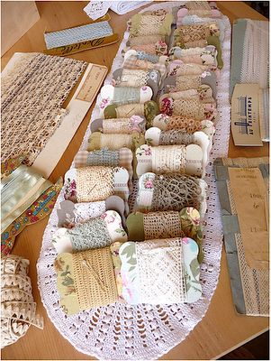 lovely way to store laces and trims