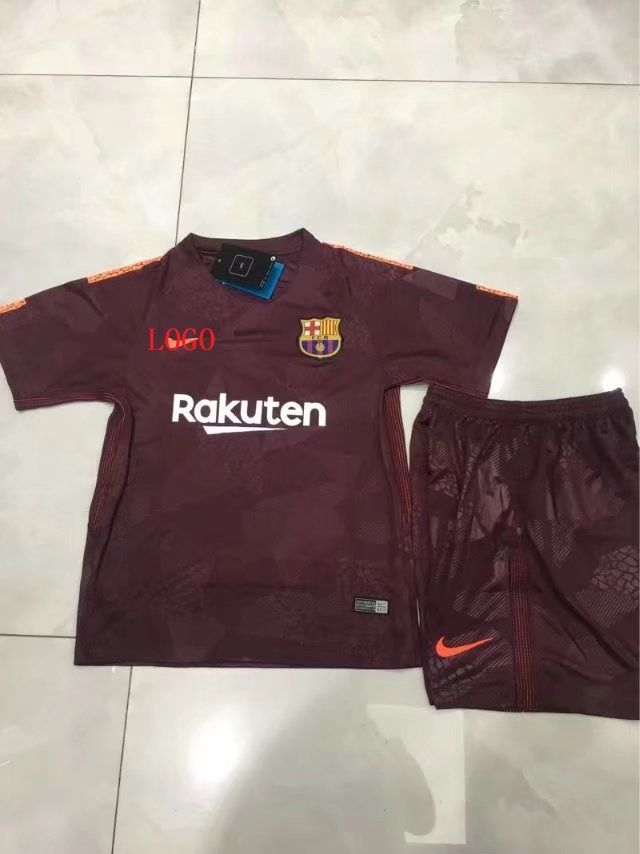 0a6f028a4eea9 17-18 Kids Barcelona Third Away Soccer Jersey Uniform Boy Football Sport  Kits uniformes de futbol soccer