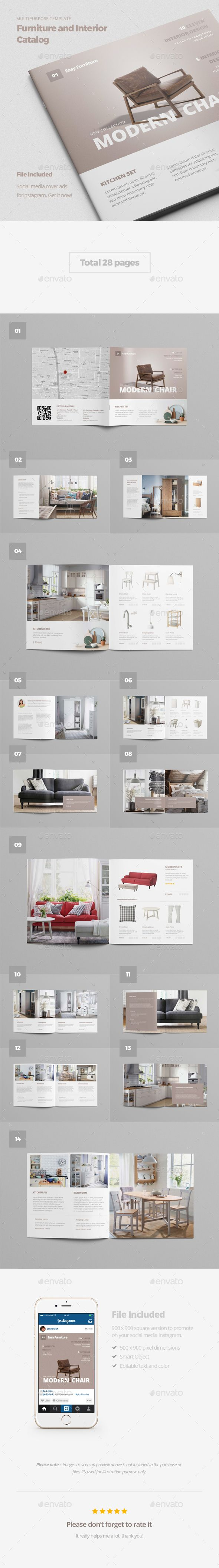 Furniture and Interior Catalog Brochure Template PSD #design Download…