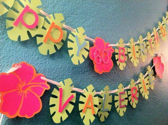 Hawaiian Luau Birthday Banner via Etsy