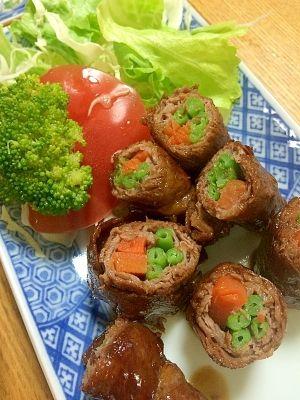 「牛肉の野菜巻き巻き」子供たちも大好きで、あっという間に売り切れます。ご飯との相性もバッチリです。【楽天レシピ】