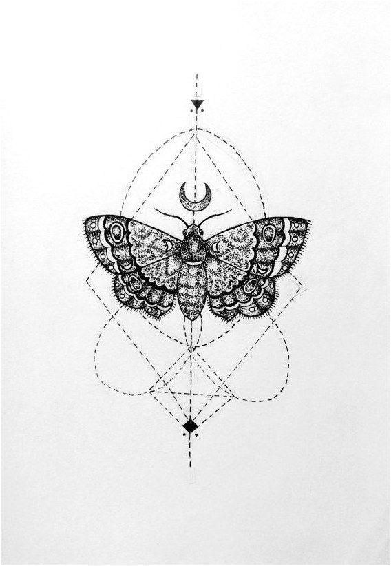 Moth Tattoo Geometric Tattoo Black Tattoo Tattooinspiration Click To See More In 2020 Geometric Tattoo Butterfly Tattoo Tattoos