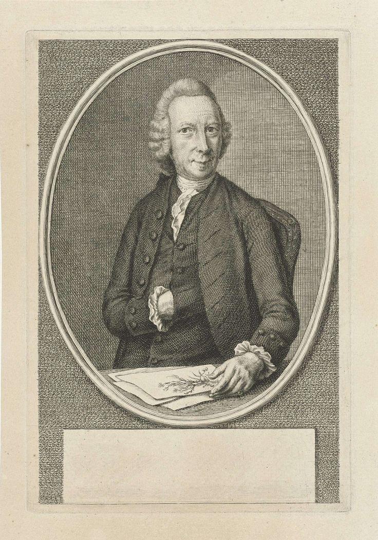Jacob Houbraken | Portret van David de Gorter, Jacob Houbraken, 1776 - 1780 | David de Gorter, ten halven lijve, zittend aan een tafel, in een ovaal medaillon. Onder zijn linkerhand enkele papieren waarop planten staan afgebeeld. Onder het portret een leeg veld voor zijn naam.