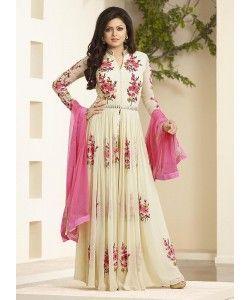 White Designer Anarkali Suit..