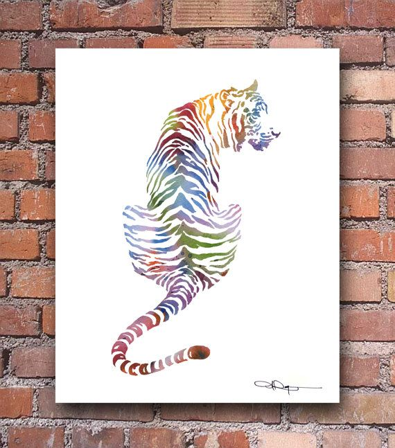 Tiger Watercolor - Colorful Abstract Painting - Wall Décor    This is a professional quality giclee print from my original hand painted watercolor