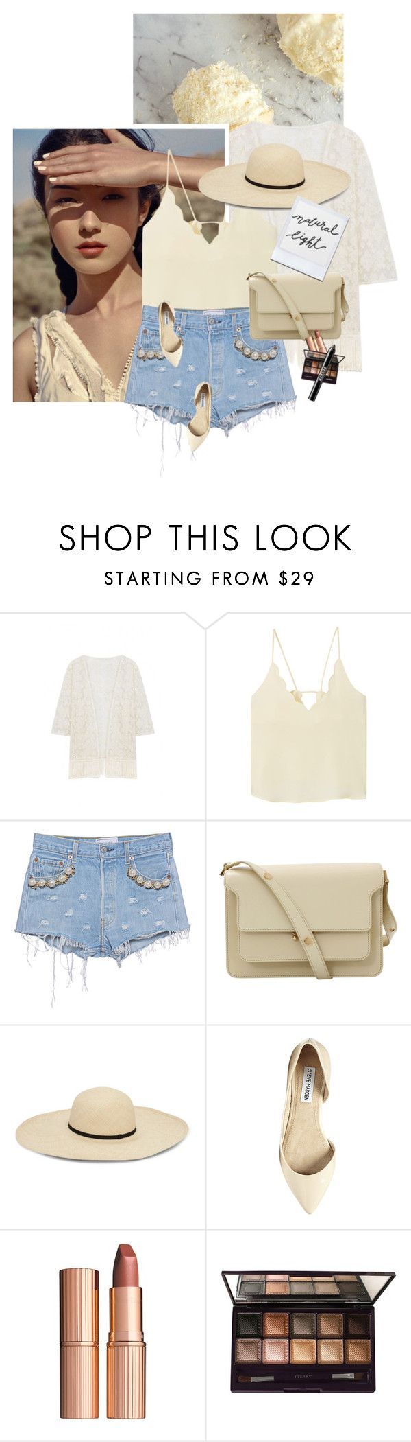 """Soleil"" by chebear ❤ liked on Polyvore featuring MANGO, Forte Couture, Marni, Steve Madden, Charlotte Tilbury, By Terry, Ardency Inn, jeanshorts, denimshorts and cutoffs"