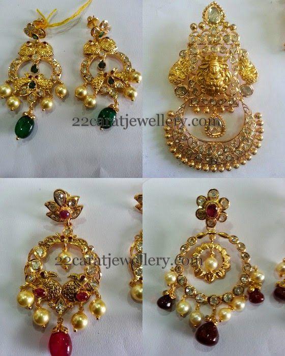 Jewellery Designs: Uncut Diamond Lakshmi Chandbalis
