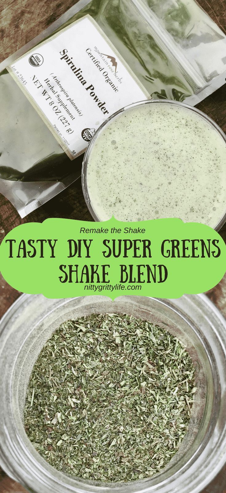 Big nutrition and flavor abound in this tasty DIY super green shake blend. via @nittygrittylife