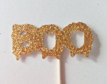 12 boo Glitter Cupcake Toppers - festa di Halloween - decorazioni - spettrale