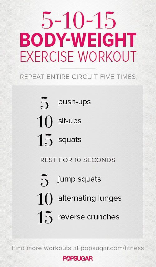 wgiL This 5-10-15 workout is the perfect starter workout for bodyweight beginners — and once you start repeating the circuit, you'll see just how effective and chall