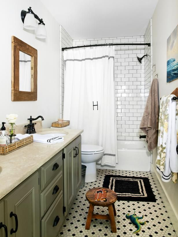 HGTV Kid-Friendly Bathroom by Anisa Darnell | http://www.hgtv.com/bathrooms/kid-friendly-bathroom/index.html | cabinets painted Raccoon Hollow by Benjamin Moore