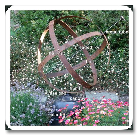 DIY Armillary for the garden using old barrel hoops