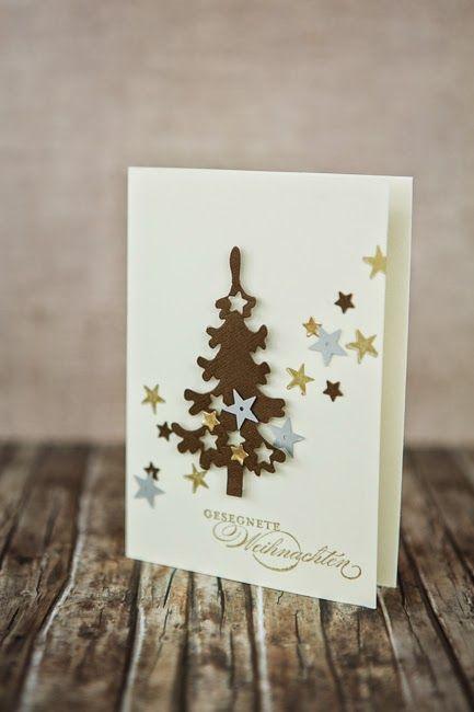 Christmas tree Card Marianne design tree die, Christmas Tree LR0136 - Stars Schnubbeldupp - kort jul juletræ - Karte Weihnachten Baum
