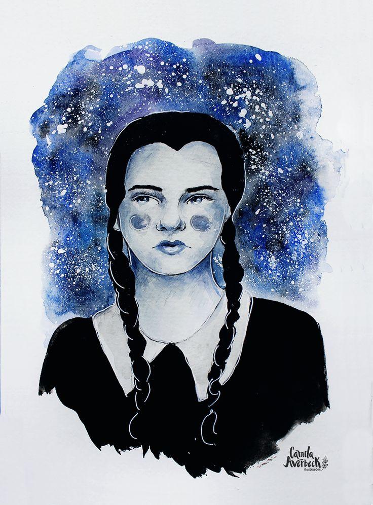 Wandinha Addams by Camila Averbeck Ilustrações.   www.camilaaverbeck.com.br