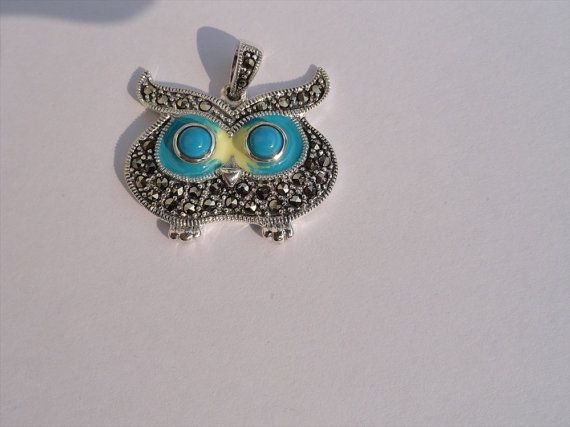 Owl Shape Pendant TURQUOISE Stone for Necklace by beadsincredible, $39.99