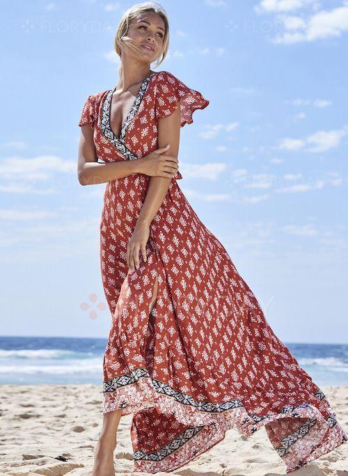 Kleider - $57.99 - Polyester Blumen kurze Ärmel Maxi Lässige Kleidung Kleider (1955128859)