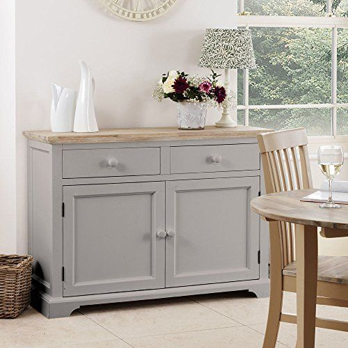 St Mawes Painted Shabby Chic Dove Grey Double Sideboard Dresser UniqueChic Furniture Kitchen