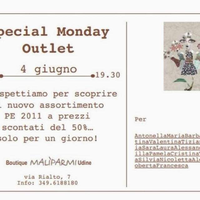 Tomorrow is a special monday of shopping!! Come here (#Udine), if you like Malìparmi Style!!!