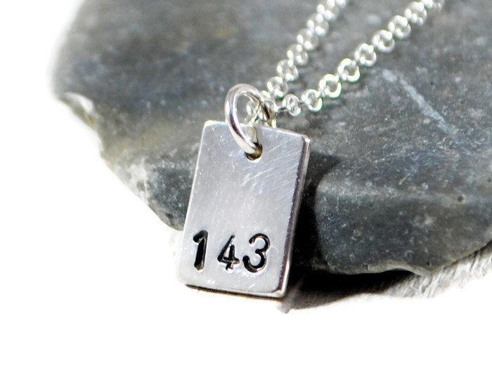 143 I Love You Necklace. Personalized Tag Necklace. Tiny Hammered Sterling Silver Square Tag Necklace. Minimalist Jewelry By GSminimal