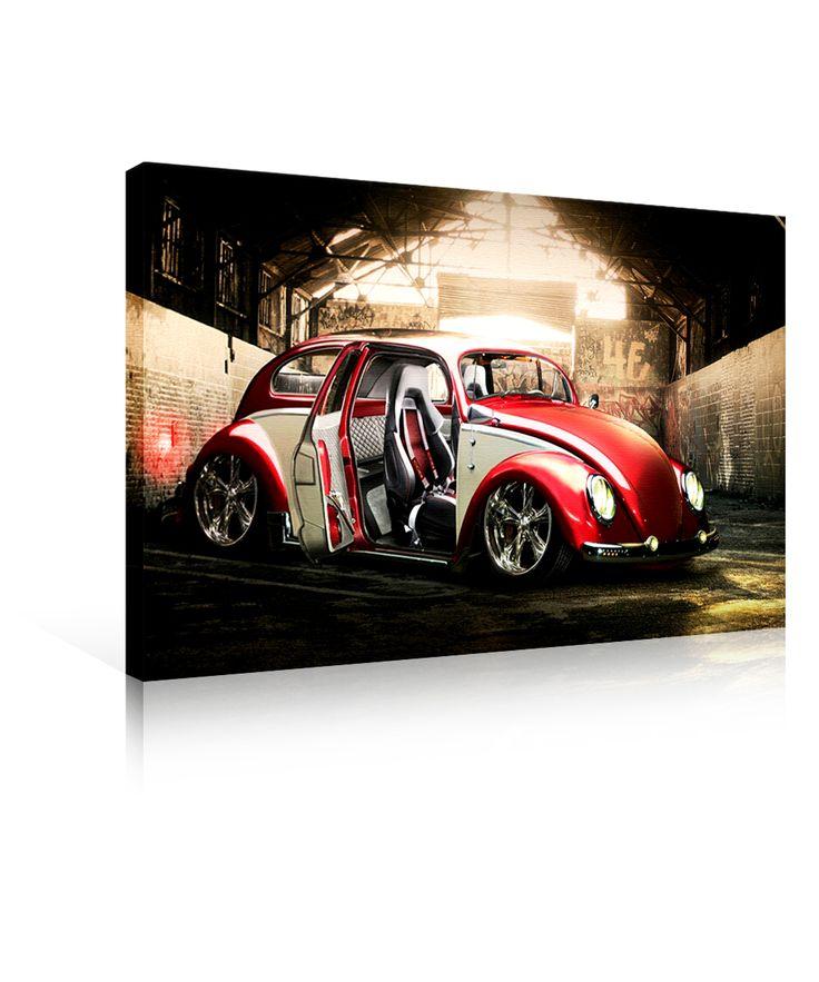 Ledli Kanvas Tablo (Red Volkswagen) 50 x 70 cm.